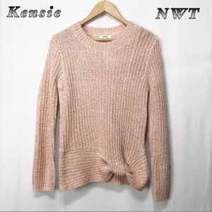 NWT-Kensie Peach Marl Knotted crew neck Sweater XS